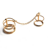 """Connected"" Gold Two Finger Midi Ring"