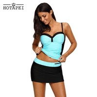Hotapei Plus Size Swimwear Mint Black Ruched Tankinis and Skirted Swimsuit LC410459 swimming suit for women  2018 new beach wear