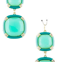 Mint & Turquoise Square Drop Earrings