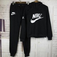 Tagre™ Nike Women Casual Short Sleeve Top Sport Gym Sweatpants Set Two-Piece Sportswear