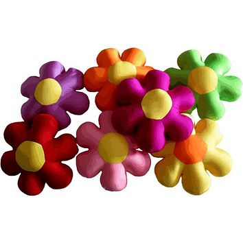 """Tache Squishy Microbead Colorful Flower Shaped Throw Pillow 18"""""""