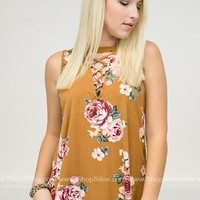 Golden Rose Floral Top