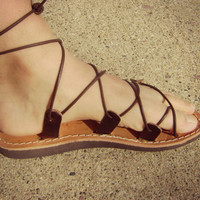 vintage leather gladiator sandals | made in Greece | ladies size 8- 8 1/2 | hippie sandals | boho sandals | lace up sandals | leather sandal
