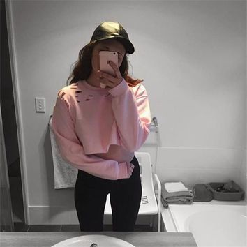 Women's Fashion Ripped Holes Crop Top Round-neck Hoodies [9235360967]