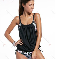 Black Printed Modest One-Piece Swimsuits