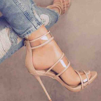 Stylish Design Summer Peep Toe Style Sexy Transparent High Heel Sandals [10953875087]