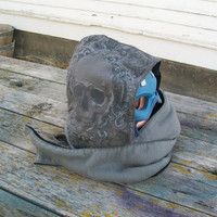 Upcycled Skull Shirt Fleece Hooded Scarf Scoodie Ready to Ship