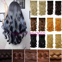 Women Ladies 24Long Curly Wavy 5 Clips On Hair Extensions 3/4 Full Head Black Blonde Brown