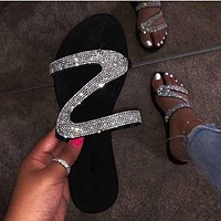 2020 new women's large size rhinestone beach flat sandals and slippers shoes