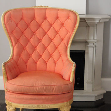 Tufted Wing Back Coral Chair