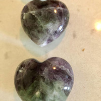 NEW!! Rainbow/Green Fluorite Crystal Palm Stone Natural Puffy Heart- Extra Quality Beautiful- FREE Bag & Affirmation Card. Angel Energy