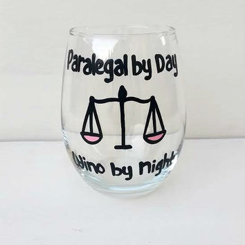 Paralegal stemless wine glass