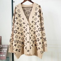 LV Louis Vuitton Trending Women Stylish Long Sleeve V Collar Sweater Knit Cardigan Jacket Coat Khaki I12926-1