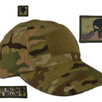 "USA Made Tactical Operator Cap with Punisher Skull ""Prepare for War"" Patch Set - One Size Adjustable - Multicam"