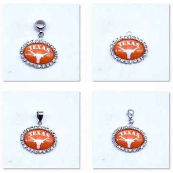Pendant Charms Rhinestone NCAA Texas Longhorns Charms Basketball Sports Dangle Charms for Women Men Diy Jewelry Fashion