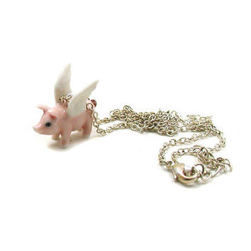 Flying Pig Necklace, Charm Necklace, Charm Jewelry, Pig Jewelry, Flying Pig Charm, Jewelry Gift, Baby Pig Necklace, Piggy Necklace, Tiny Pig