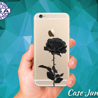 Black Rose Flower Floral Goth Cute Tumblr iPhone 5, iPhone 5C, iPhone 6, and iPhone 6 +, iPhone 6s, iPhone 6s Plus and iPhone SE Clear Case