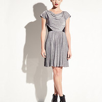 PLEATED DRESS WITH LACE INSETS