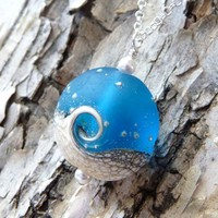 Ocean Necklace Blue Wave Lampwork Pendant Necklace by JBMDesigns