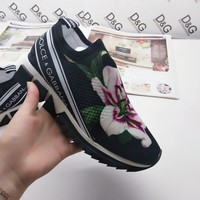 Dolce & Gabbana D&G Casual Shoes Leather Leisure Comfortable Sneaker DG shoes boots white black