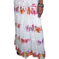 Women's Summer White Floral Indian Cotton Printed Long Skirt