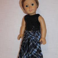 18 inch doll clothes plaid, Harem, dance, yoga pants with ties, black sequin crop tank  top, american girl, maplelea