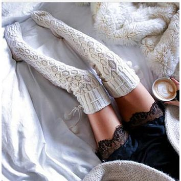 Berryhot Extra Long Cotton Mid Thigh High Socks Over The Knee High Boot Stockings Cotton Leg Warmers