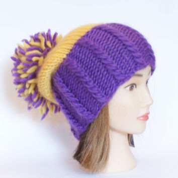 Irish handknit purple and yellow county hat slouchy hats with pompom fun knitted wool hats for women teenagers child chunky yarn