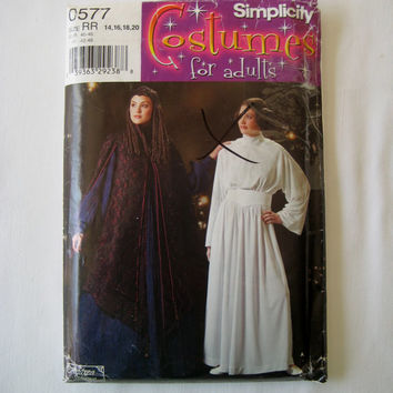 RARE Simplicity 0577 Sewing Pattern Star Wars Costumes Princess Leia Costume Padme Amidala Costume Star Wars Cosplay Size 14 16 18 20 UNCUT