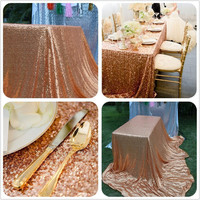 50x80 inch Rose Gold Sequin Table Cloth Wedding Decor - Free Shipping