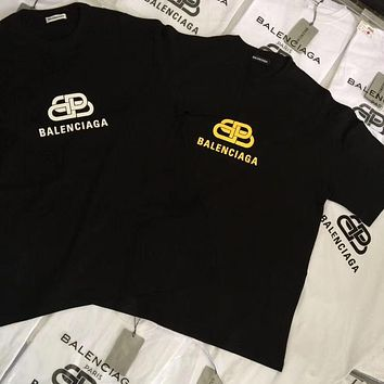 Balenciaga new short-sleeved t-shirt couple suit half-sleeved loose trend men and women