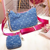 Inseva LV Fashion New Monogram Print Canvas Wallet Shoulder Bag Crossbody Bag Two Piece Suit Blue