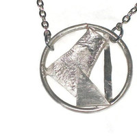 Modern sterling silver abstract pendant