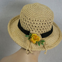 Vintage Straw Hat Garden Yellow Rose Black Ribbon Classic for Spring