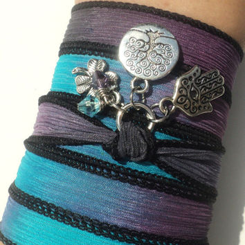 Tree of Life Hamsa Silk Wrap Bracelet Yoga Jewelry Good Luck Protection Evil Eye Anklet Necklace Earthy Unique Gift Under 50 Item S48