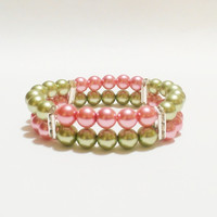 Pink and Green Double Strand Bracelet and Earring Set / Pearl Bracelet and Earring Set / Sorority colors / Pink and Green / Pearl Earrings