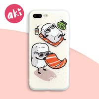 AKI Soft TPU Phone Cases for iPhone 8 7 6 6s Plus Case 3D Relief Cartoon Salmon Sushi Phone Covers 4.7 / 5.5 inch Japanese Style