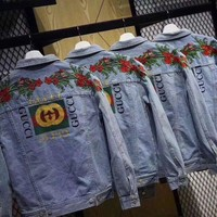 GUCCI : Rose Embroidery Denim coat