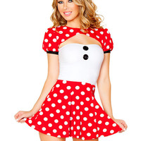 Polka Dot Puff Sleeve Cutout Mini Skater Dress Mouse Costume Set