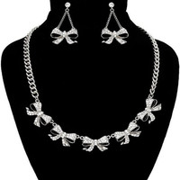 Silver and Crystal Multi Bow Necklace