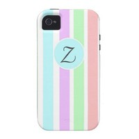 Girly soft pastel colors strips, monogram.