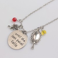 Beauty And Beast Beauty Necklace pendant Castle mirror roses Red yellow crystal antique silver jewerly Mother's Day