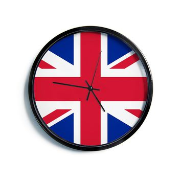 "Bruce Stanfield ""Classic Union Jack"" Blue Red Modern Wall Clock"