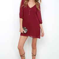 Shifting Dears Wine Red Long Sleeve Dress