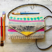 canvas painted purse with braided leather strap, tribal pattern, aztec pattern, hand painted and handmade bag, aztec purse