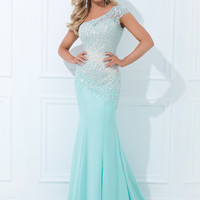 One Shoulder With Single Short Sleeve Tony Bowls Evenings Prom Dress TBE11439