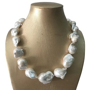 100% NATURE FRESHWATER BIG Baroque PEARL NECKLACE-50 cm-80 cm, HIGH quality 16-24 mm nature white pearl