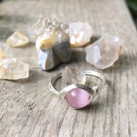 Pink stone ring, cats eye ring, minimalist wire ring, minimalist ring, gold minimalist ring, silver ring, wire wrapped ring, pink glass ring