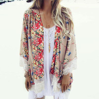 2016 Fashion Floral Chiffon Kimono Women Cardigan Elegant Lace Women Flower Print Chiffon Blouse Shirt Women Loose Kimono Jacket