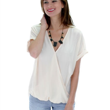 Plus Size Natural  Hi-Lo-Front-Drape-Blouse